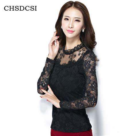 Jumbo Big Blouse Hewilsa Plain Longsleeve fashion large size lace sleeve chiffon blouses white black shirts crochet