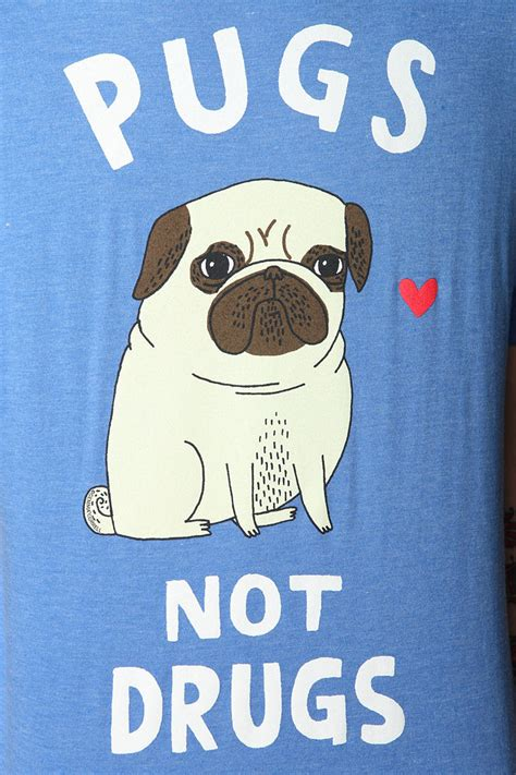 pugs no drugs outfitters gemma correll pugs not drugs in blue for lyst