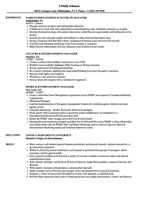 Entertainment Resume Template by Entertainment Resume Template Busser Resume Sle