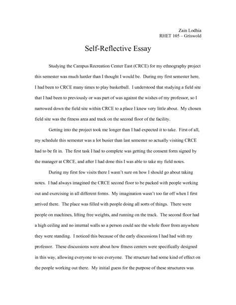 exles of self reflection essay 22 sle evaluation