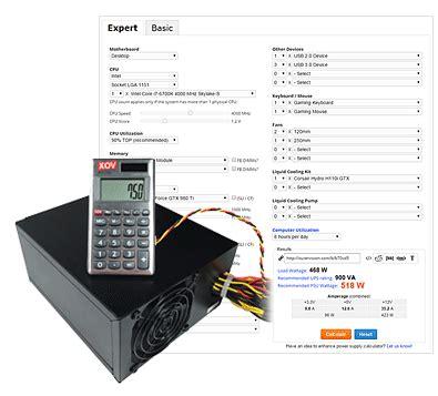 power supply calculator psu calculator outervision