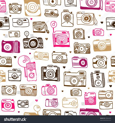 pattern background camera seamless photo camera background pattern vector stock