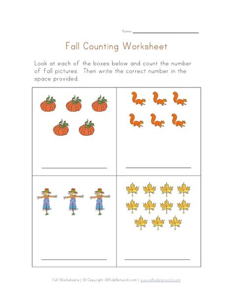 Counting Practice Worksheet by Fall Counting Practice Worksheet