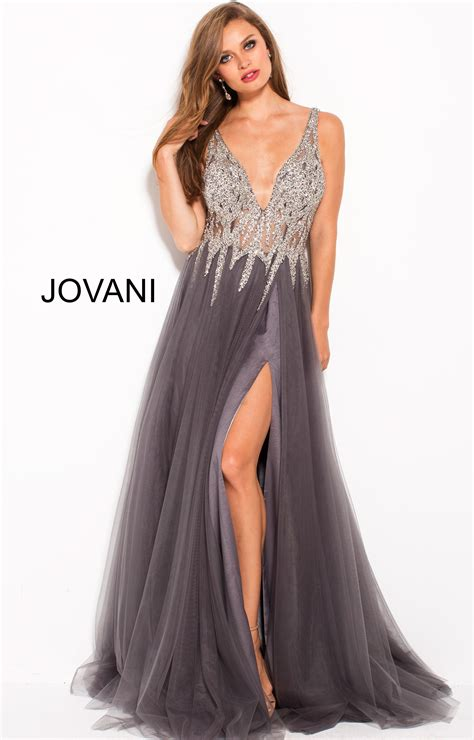 jovani   neck open  high slit prom dress