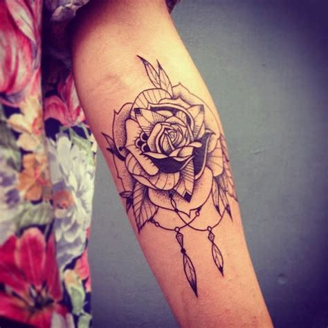 rose and feather tattoo dotwork indian feather best ideas gallery