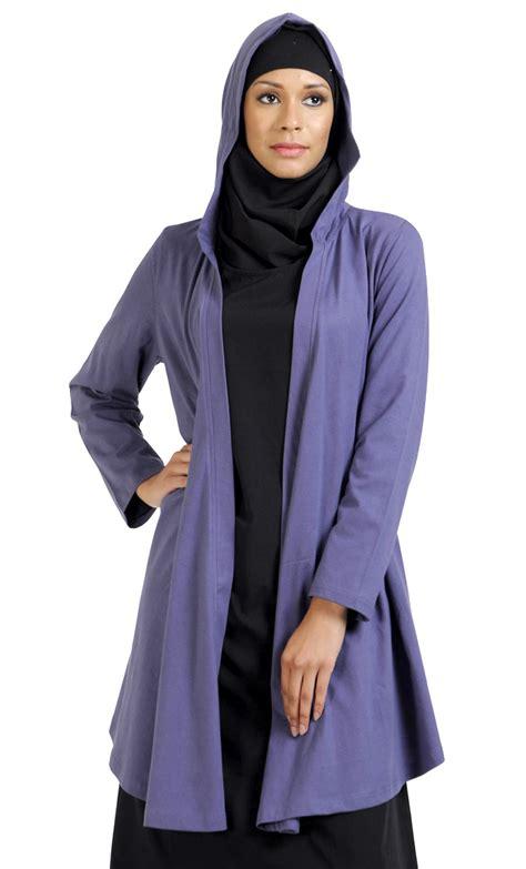 Jilbab Hoodie Front Open Hoodie Cardigan Purple