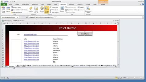 format control buttons excel 2007 how to create a reset clear form button worksheet vba