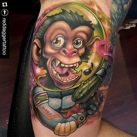 tattoo new school space 11 fascinating space monkey tattoos tattoodo
