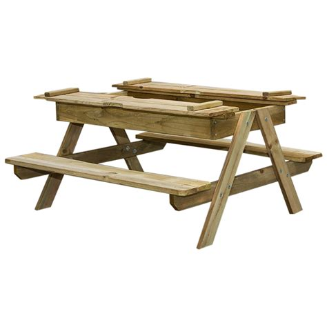 children s picnic table with sandbox