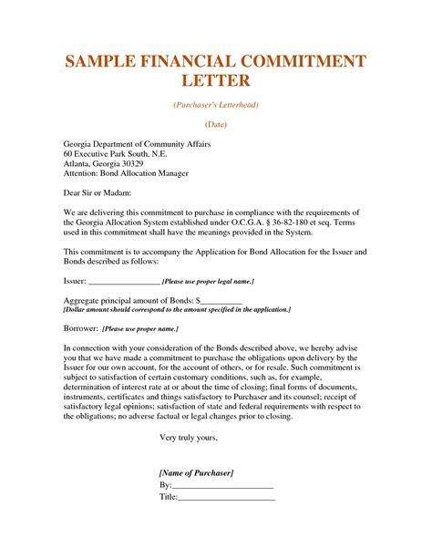 Insurance Commitment Letter Commitment Form Template
