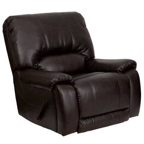 brown leather chair recliner flash furniture overstuffed brown leather lever rocker