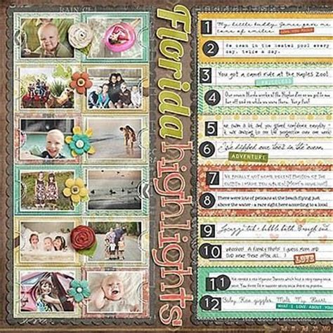 7 Great Scrapbooking by Vacation Highlights Scrapbook Layout Great For