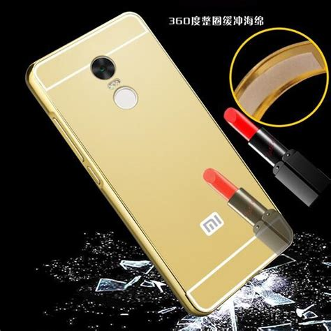 Aksesoris Casing Handphone Bumper Miror Xiaomi Redmi Note 2 Metal aluminium bumper with mirror back cover for xiaomi redmi note 4 golden jakartanotebook