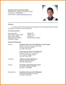 Resume Sample In Tagalog by Curriculum Vitae Format Latest Bestsellerbookdb