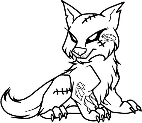 zombie cat coloring page zombie wolf lineart by xbox ds gameboy on deviantart