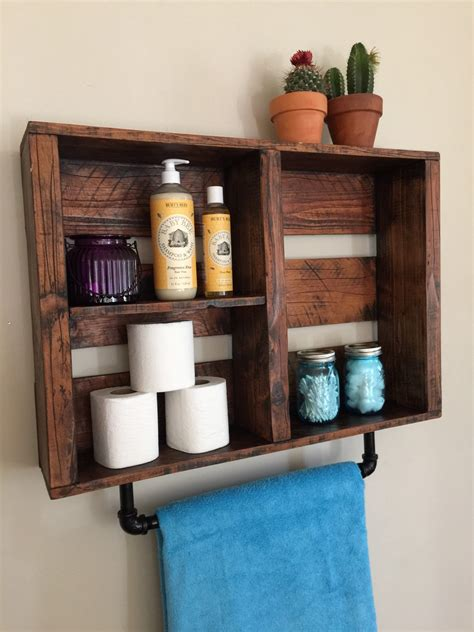 Rustic Bathroom Decor Bathroom Shelf W Pipe By Standardwoodco Bathroom Accessories Shelves