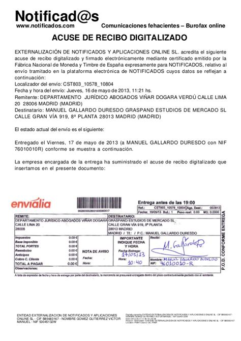 01 acuse de recibo de la declaracin ejemplo acuse de recibo de burofax postal creado en