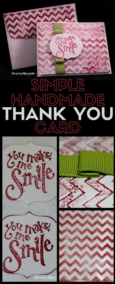 Easy Handmade Thank You Cards - simple handmade thank you card the crafty stalker