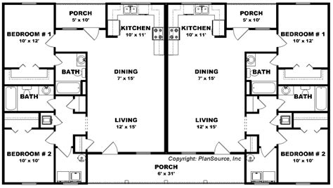 two bedroom duplex floor plans duplex house plan j0423 14d