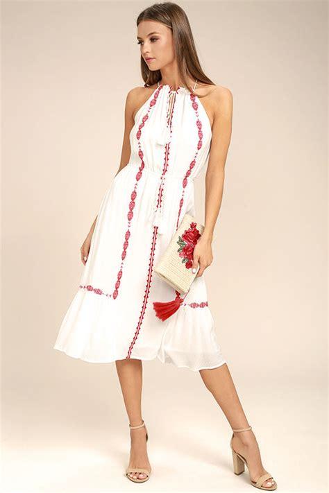 boho dress white dress embroidered dress midi dress