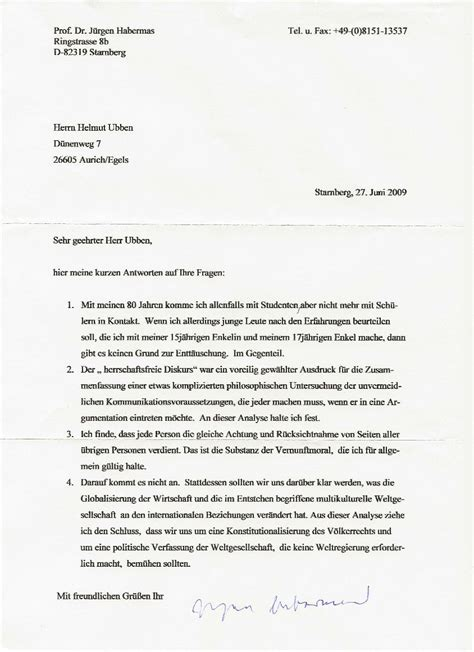 Ein Offizieller Brief Beispiel Auricher Wissenschaftstage Ein Brief J 252 Rgen Habermas