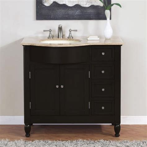 38 inch modern single bathroom vanity with travertine and