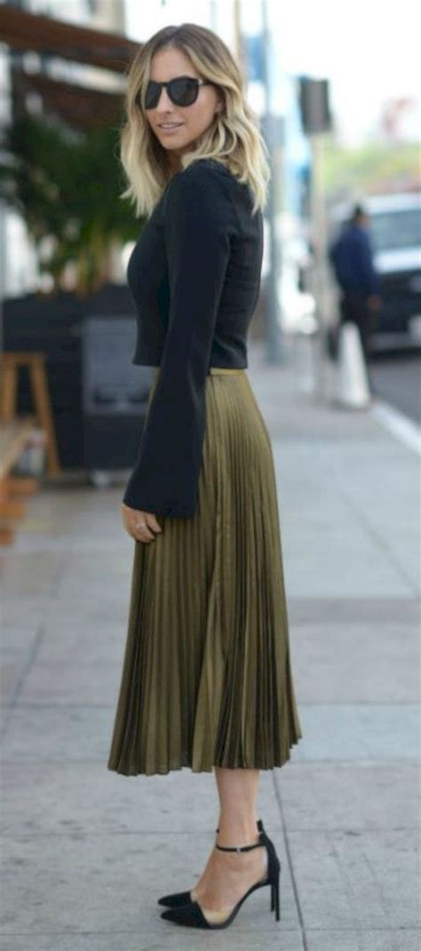 awesome  gorgeous feminine pleated midi skirt outfits