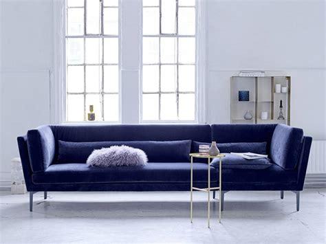 dark blue velvet sofa bloomingville rox sofa bench blue velvet living and co