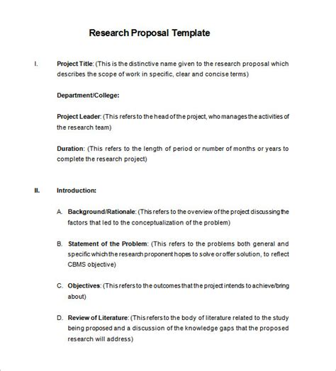 research proposal templates 17 free sles exles