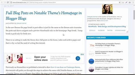 blogger tutorial full show full blog posts on notable theme blogger tutorial
