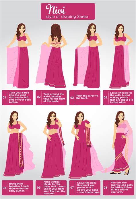 8 Simple Steps To Tie A Sari by How To Wear A Saree In Different Ways Step By Step