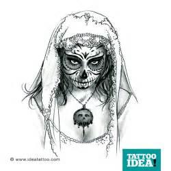 wonderful catrina face tattoo design sketch