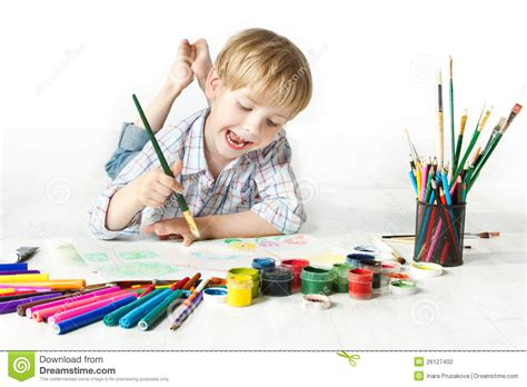 Happy Cheerful Child Drawing With Brush In Album Stock Photo Image 26127402 Kid Drawing Picture