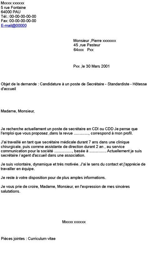 Lettre De Motivation Candidature Spontan E Pour La Mairie lettre de motivation candidature spontan c3 a9e d