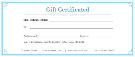 customizable gift certificate template gift certificate