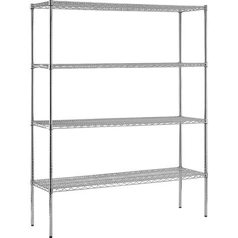 edsal 4 shelf chrome wire shelving unit 60in w x 18in d