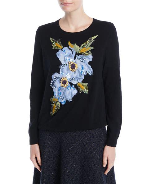 Floral Embroidered Pullover escada crewneck floral embroidered wool pullover