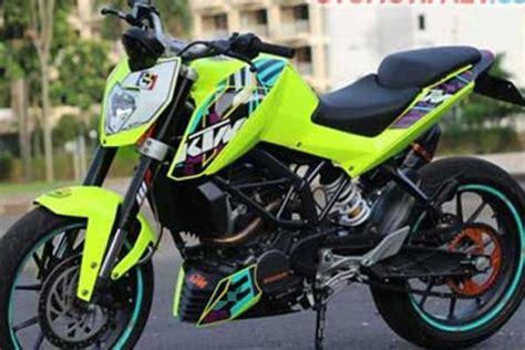 Lu Hid Motor Warna Hijau modifikasi ktm duke 200 bertambah keren dengan warna baru