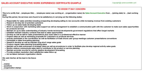 Comcast Account Executive Cover Letter by Comcast Account Executive Work Experience Letters Sles Work Experience Certificates