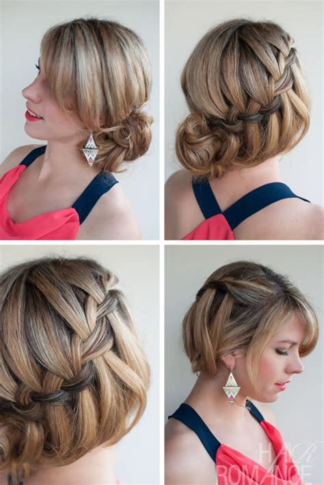 soft draid hairstyles soft loose waterfall braided bun romantic updo for your