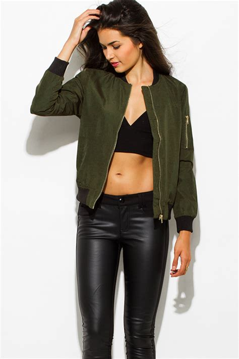 Jaket Bomber Motor Browngreen Army shop army olive green zip up banded cropped bomber jacket top