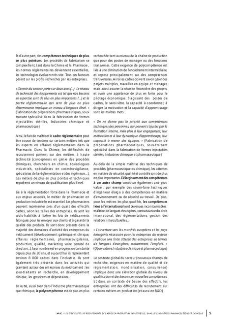 Cabinet Recrutement Industrie Pharmaceutique by Etude Apec Les Difficult 233 S De Recrutement De Cadres En