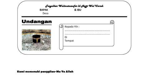 Undangan Pernikahan Ali 7 contoh undangan walimatussafar haji