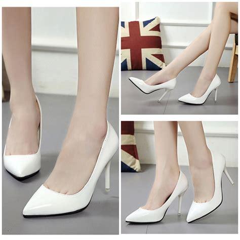 Sepatu Fashion Glossy Br8297 jual shh918 white sepatu heels glossy fashion 9 5cm grosirimpor