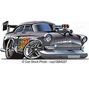 Vector Illustration Of Cartoon Retro Hot Rod Isolated On
