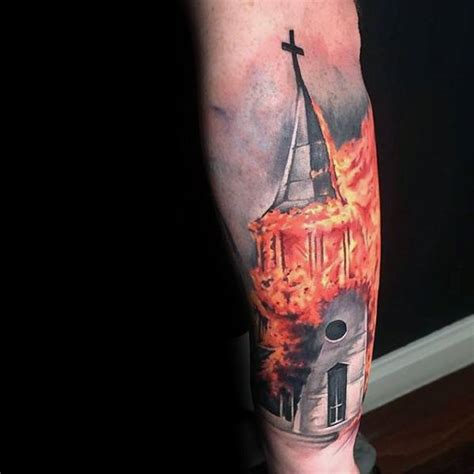 burning cross tattoo 34 great burning church designs and ideas