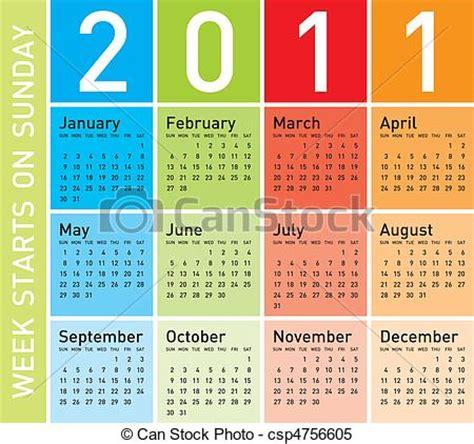 Calendrier 2011 Semaine Vecteur Clipart De Color 233 Calendrier 2011 Color 233
