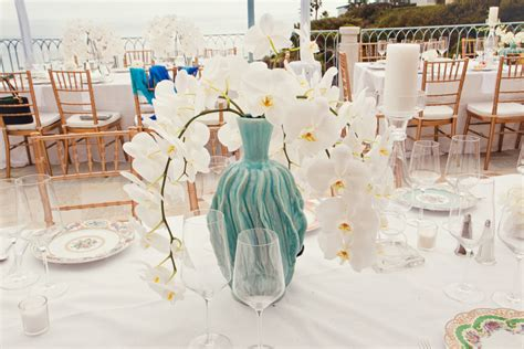 Turquoise Vases For Wedding by White Orchid Wedding Centerpiece With Turquoise Vase