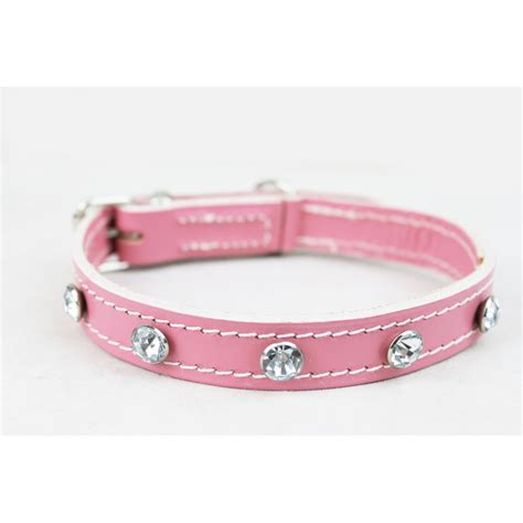 Handmade Collars Uk - lotsforpets pink handmade diamante leather collar