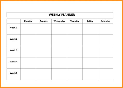 13 work schedule template monday thru friday agenda exle